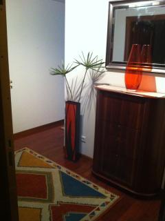 Entrada casa. Zapatero, espejo, perchero y alfombra.