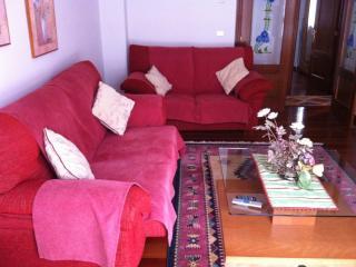 Salón I. Dos sofás 6 plazas, armario madera grande con TV,  mesa cristal, alfombra, mesa auxiliar.