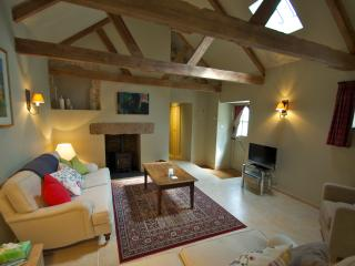 Spacious living room with woodburner