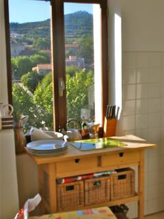 Kitchen with view across village