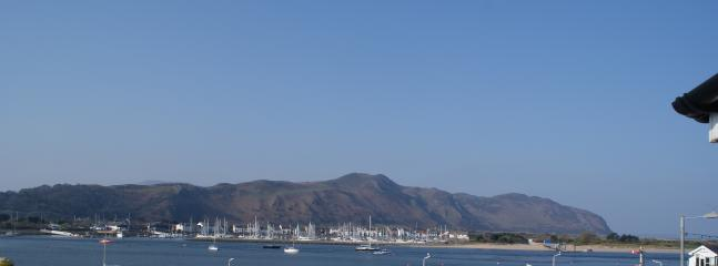 Conwy Mountain, Marina and Beach from balcony.