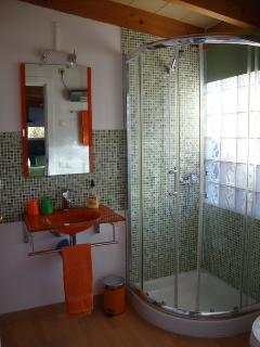 Cuarto de baño con toallas, secador de pelo, jabón de mano y gel de ducha