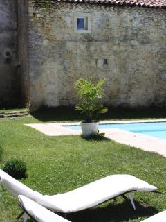 The swimming pool in the cloister of the castel