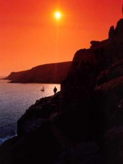 Lamorna Cove towards Tater Du at sunset