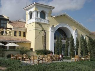 The exterior of the bar and clubhouse