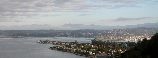 View over Lagoon, Leisure Isle, parts of Knysna towards Outeniqua Mountains