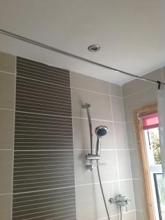 Newly tiled bathroom.