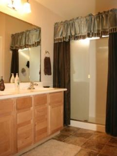Master Bathroom Ensuite with WALK-IN Shower & DOUBLE sinks + private toilet room & linen closet!