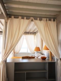 Ocean View Penthouse Lounge Curtained Double Daybed in Lounge