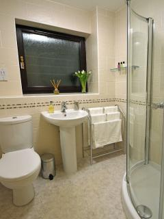 Beautiful shower room with complementary toiletries.