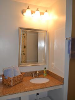 One of the bathrooms (both are the same size, master bath is ensuite