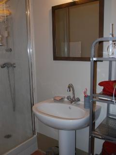Bathroom with fitted shower cabinet, wash basin and storage facilities. There is a separate toilet.