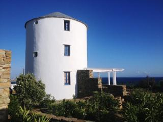 Ancient renovated windmill by the sea- Stavros Bay, Tinos Town