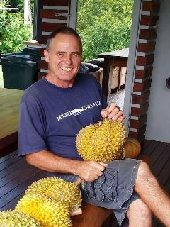 John and his home grown Durian