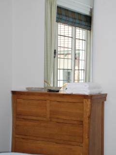 Front bedroom mirror and oak chest of drawers