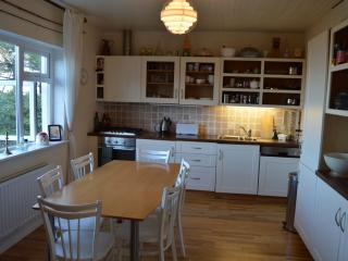 Extensively-equipped kitchen/dining room with a sea view from the table