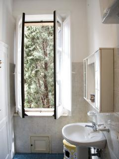 Comfortable and light bathroom with shower
