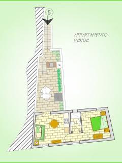 Planimetria appartamento con cucina - salotto, stanza e servizio; terrazzo con zona pranzo