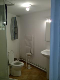 The bathroom with shower cubicle to the left