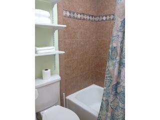 Newly remodeled and tiled bathroom