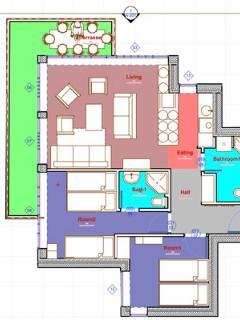 Floor Plan : 3 rooms 2 bathrooms Terrace