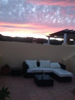 Sunset on upstairs terrace