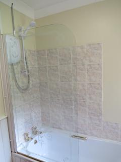 Bath with overhead shower