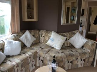 Sizeable lounge with gas fire.   Patio doors open on to small deck area