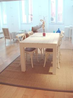 Our lovely white washed table with room for six