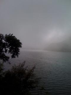 Monsoon mist on Bhimtal Lake