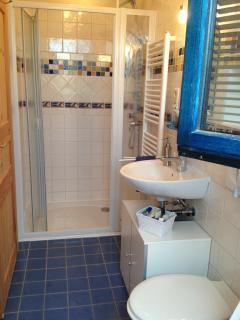la seconde salle de bains avec sa grande cabine de douche