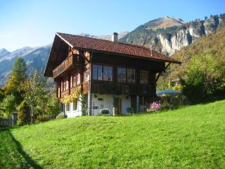 Two-room apartment with lake and mountain view in a chalet with garden and sauna