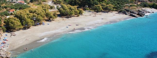 Sandy Pantazi Beach only a 5 minute walk from our villa. There is a greek tavern with local cuisine.