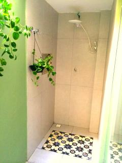 Outside beroom shower with wall garden