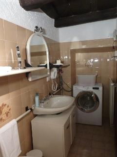 Bathroom with sink, toilet, bidet, shower box, washer dryer and hair dryer