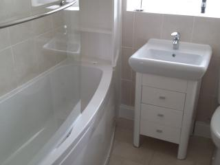 Bathroom includes bath with shower over