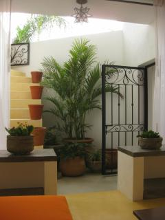 Stairs from Casita Garden to Bonus/Media Room w/Full Bath (incl. only when renting entire property)
