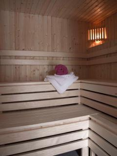 Our new Sauna, perfect to alternate with our steam room