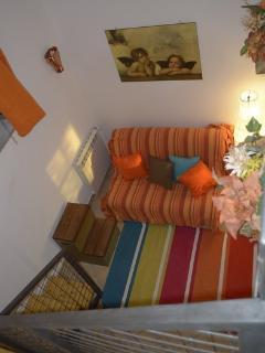 la zona soggiorno appartamento 'la Volpe'