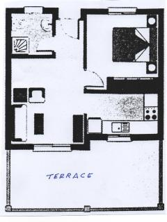floorplan with spacious sunny terrace