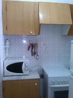 Horno y frigorífico-congelador. La lavadora está en otra estancia con lavadero