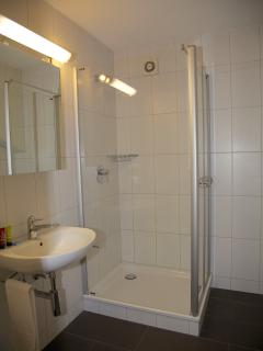 One of the bathrooms, with a free standing shower