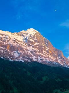 A shot of the north face of the Eiger, taken from the Attic's balcony