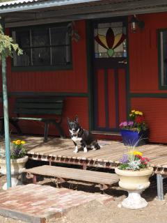 Say hello to Pip while relaxing on the veranda.
