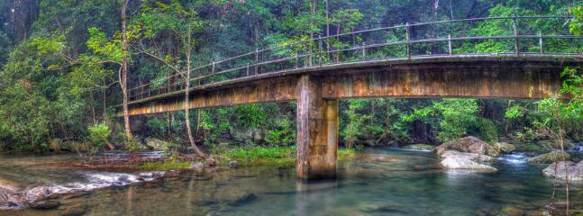 Our secret waterfall is 12 minutes walk away over this beautiful bridge