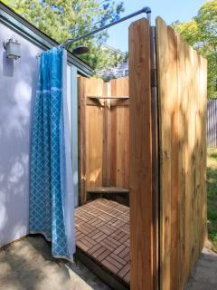New outdoor hot/cold shower.