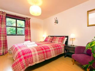 King sized bed with en-suite. A light room with open views, benefitting from double glazing