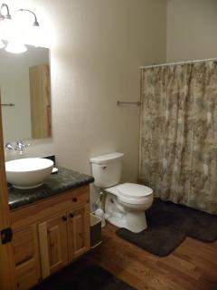 Full bathroom with shower and tub.