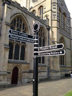 Essential signage in by the Cathedral - Greene King & the Theatre Royal