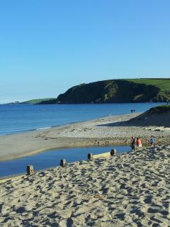 Pentewan sands a mere 3 minutes walk from isolde cottage.